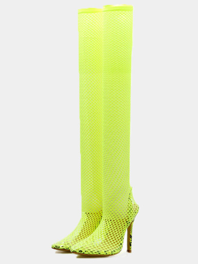 OneBling Plus Size Pointed Toe Fishnet Heeled Over The Knee Boots /12CM