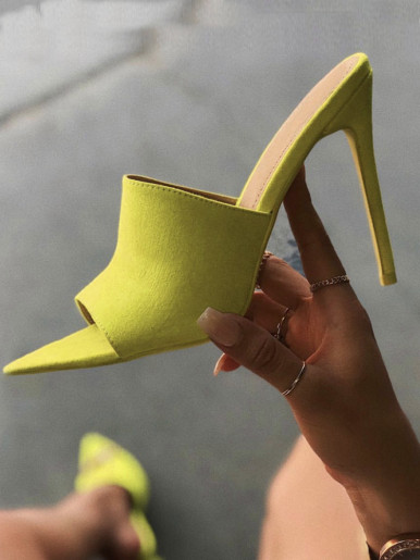 OneBling Plus Size Pointed Toe Heeled Mules In Neon Yellow / 11.5CM