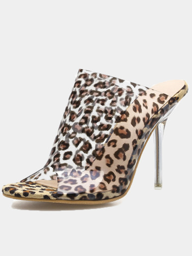 OneBling Plus Size Peep Toe Clear Heeled Mules In Leopard  /11CM