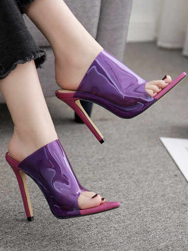 OneBling Pointed Toe High Heel Mules In Clear Purple /Red  /11.5CM