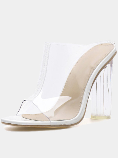 OneBling Peep Toe Clear Block Heeled Mules /11CM