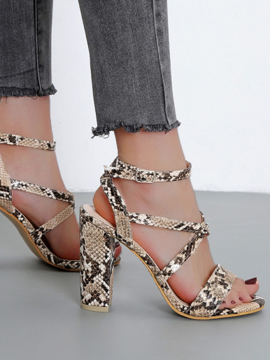 OneBling Cross Straps Block Heeled Sandals In Snake /11CM