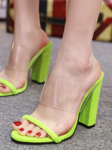 OneBling Clear Strap Block Heeled Mules In Neon Green  /11.5CM