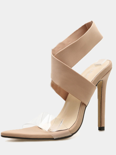OneBling Stretch Cross Strap Clear Detail Pointed Toe Heeled Sandals / 11.5CM