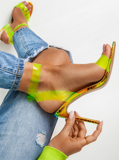 OneBling Plus Size Yellow Clear Sandals with Metallic Heel / 11.5CM