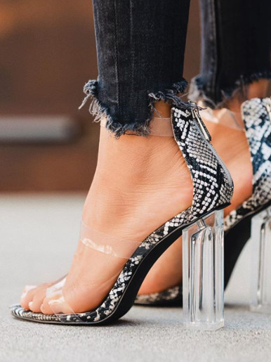 OneBling Snake Clear Block Heeled Sandals / 11CM
