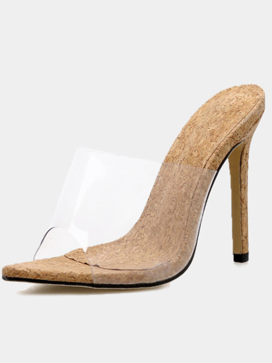 OneBling Pointed Toe Wood Detail Heeled Clear Mules  /11.5CM