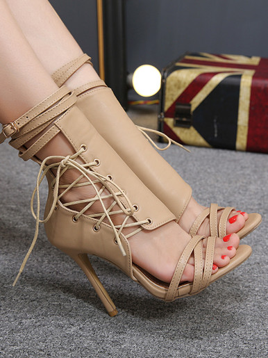 OneBling Peep Toe Strappy High Heel Summer Ankle Boots / 11CM