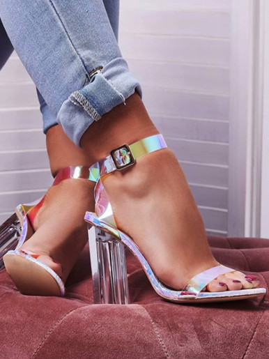 OneBling Plus Size Shiny Clear Block Heeled Sandals / 11.5CM