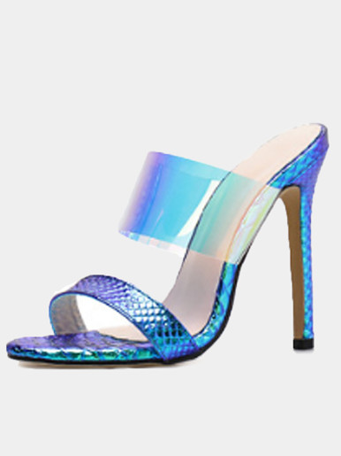 OneBling Shiny Clear Strap Heel Mules /11.5CM