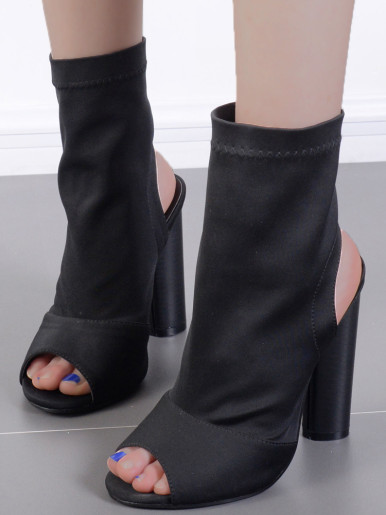 OneBling Peep Toe Slingback Sock Ankle Boots In Black with Round Heel /12CM