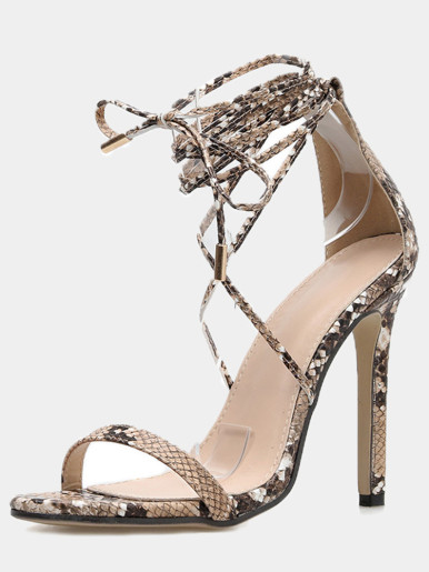 OneBling Tie Up Leg Heeled Sandals In Snake Print / 11.5CM