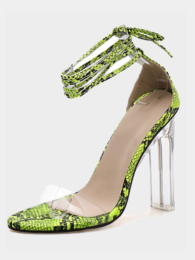 OneBling Peep Toe Clear Heel Tie Leg Sandals In Green Snake / 11CM