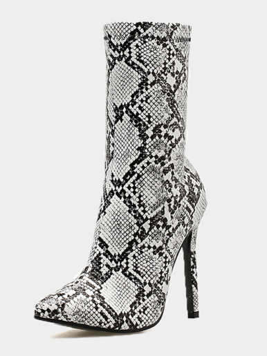 OneBling Plus Size Pointed Toe Snake Ankle Boots /11CM