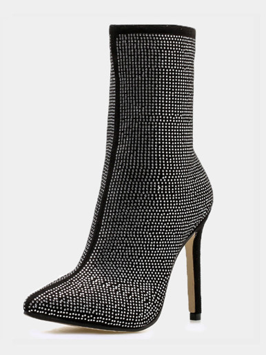 OneBling Plus Size Pointed Toe Rhinestone Stiletto Ankle Boots /11.5CM