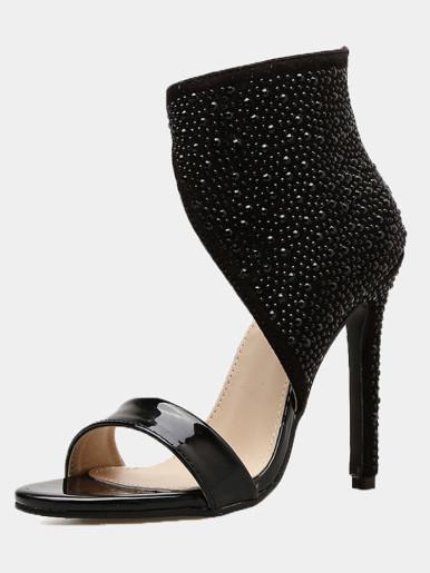 OneBling Black Shiny PU Peep Toe Stilettos Ankle Boots with Rhinestone / 11.5CM