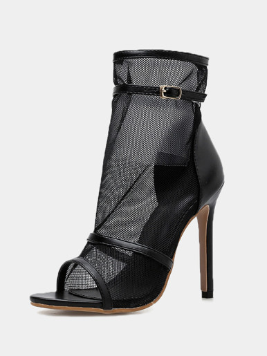 OneBling Black Mesh Peep Toe Stiletto Ankle Boots with Ankle Strap /11CM