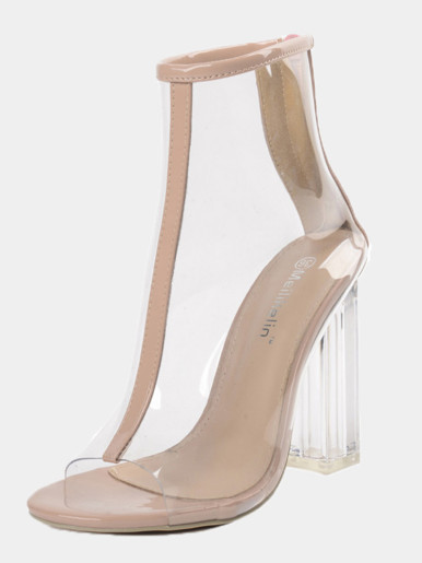 OneBling Peep Toe Clear Block Heeled Ankle Boots /11.5CM