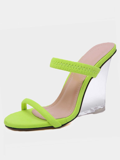 OneBling Neon Green Clear Wedge Mules /11.5CM
