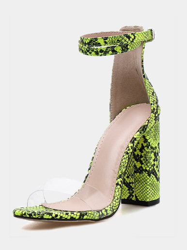 OneBling Ankle Strap Clear Detail Block Heeled Sandals In Green Snake / 11CM