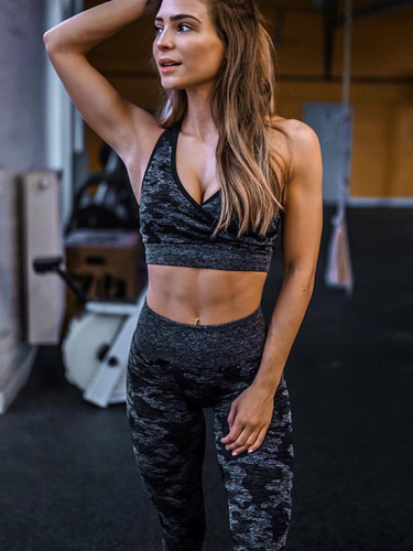 OneBling Tie Dye Wrap Crop Tops and Pants Gym Set