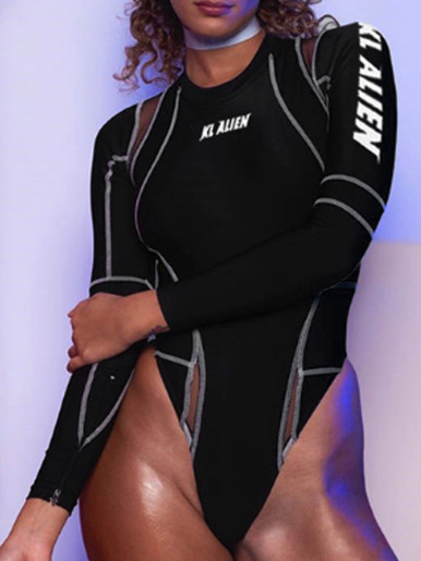 OneBling Mesh Detail Long Sleeve Bodysuit In Black with Contrast Stitch