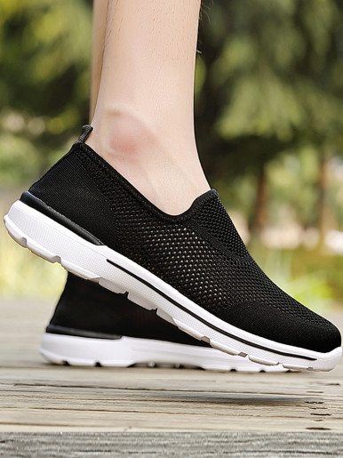 OneBling Summer Breathable Mesh Knit Women Slip On Flat Sneakers 2019 Lightweight Massage Walking Shoes Trainers