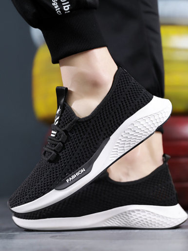 OneBling Men Sneakers Breathable Mesh Knit Lace Up Flat Casual Shoes 2019 Summer Autumn Lightweight Walking Trainers