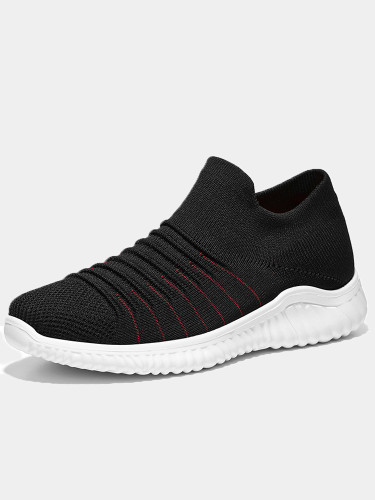 OneBling Black White Breathable Knit Low Upper Chunky Sneakers 2019 Autumn Lightweight Slip On Flat Walking Shoes Men Trainers
