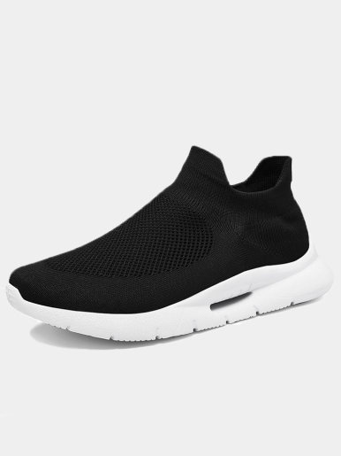 OneBling Men Trainers Breathable Mesh Knit Sock Shoes 2019 Autumn Slip On Platform Flat Walking Shoes Sneakers