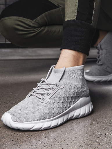 OneBling Autumn Men Trainers 2019 Breathable Mesh Knit High Top Sock Shoes Chunky Sneakers Flat Walking Shoes