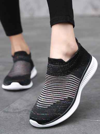 OneBling Striped Knitted Sock Sneakers Women Summer Breathable Platform Flat Slip On Shoes 2019 Female Trainers Walking Shoes