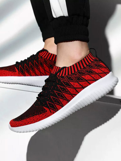 Mixed Color Knitted Breathable Lightweight Men Sock Sneakers 2019 Spring Summer Flat Walking Shoes