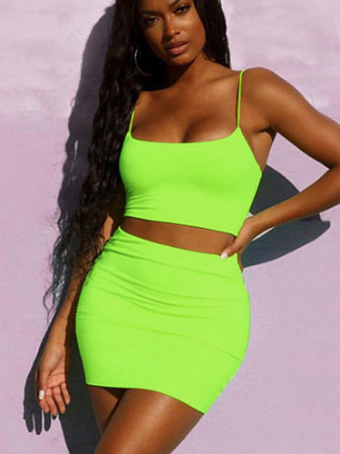 OneBling Neon Green Cami Crop Tops and Mini Skirt Sets