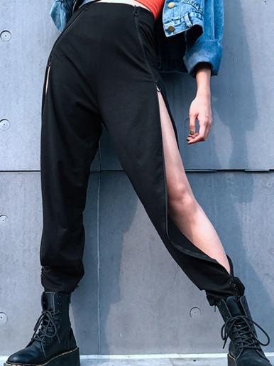 OneBling Zipper Split Trousers