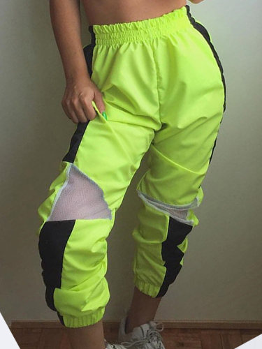 OneBling Mesh Detail Joggers Trousers In Neon Green with Contrast Tape