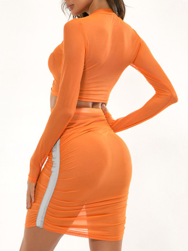OneBling Orange See Through Mesh Women Sets Clubwear Reflective Tape Long Sleeve Short Tops and Ruched Knee Length Skirt