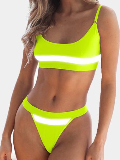 OneBling Reflective Tape Patchwork Sexy Thong Bikini Set Beachwear Summer Neon Green Push Up Bathing Suits Women Swimwear