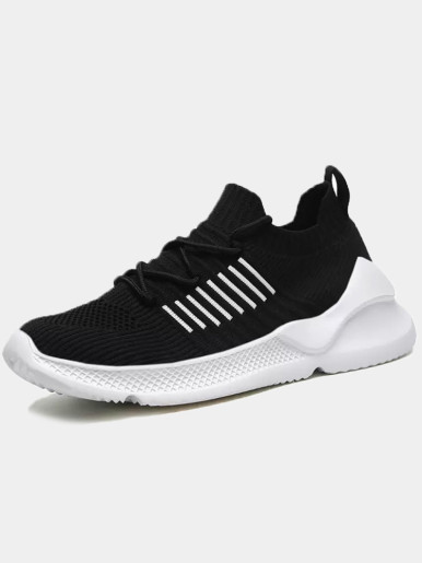 OneBling Summer Breathable Men Shoes Knit Sock Sneakers Lace Up Mens Shoes Casual Sport Walking Flat Shoes Plus Size Loafers