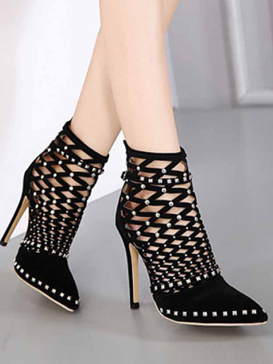 OneBling Fashion Hollow Rivet Women Boots Black Thin Heel Boots Pointed Toe Ankle Boots Summer Sexy High Heels Ladies Shoes