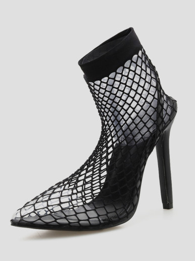 OneBling Pointed Toe Black Mesh Women Sandals Sexy Summer Shoes Woman Party Transparent Thin High Heels Ankle Boots