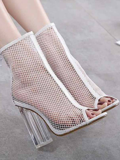 OneBling Mesh Clear Block Heeled Ankle Boots