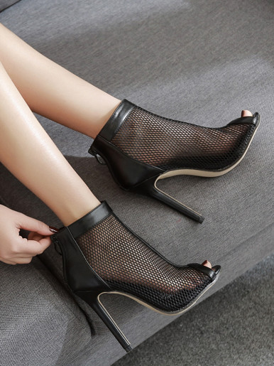 OneBling Stiletto Women Ankle Boots Peep Toe Hollow Mesh Pumps Women Shoes High Heels Sexy Summer Shoes Ladies Sandals Boots