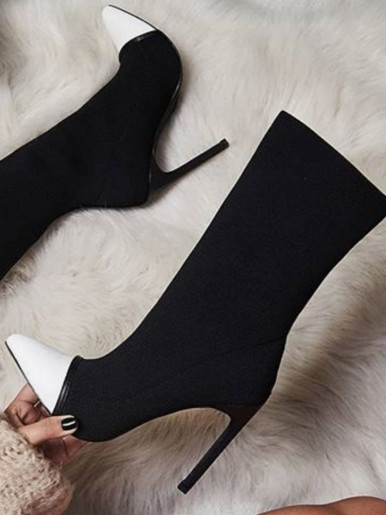 OneBling New Stretch Fabric Women Ankle Boots Pointed Toe High Heels Slip-On Sexy Sock Heels Chelsea Boots