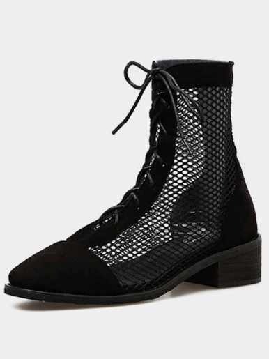 OneBling Fashion Flock Mesh Patchwork Black Ankle Boots Women Shoes Ladies Platform Boots Summer Sexy High Heels Lace Up Pumps