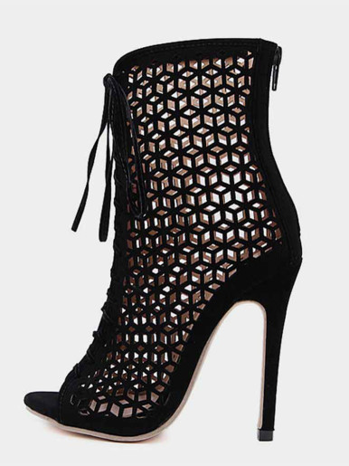 OneBling Sexy Black Hollow-out Lace Up Peep Toe Ankle Boots for Women Shoes Woman Stiletto High Heels Summer Female Boots