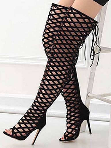 OneBling Fashion Runway Hollow Women Boots Zipper Peep Toe Over-the-Knee Thin High Heels Thigh High Boots Women Botas Mujer