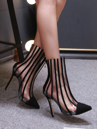 OneBling Transparent Stripe High Heeled Ankle Boots