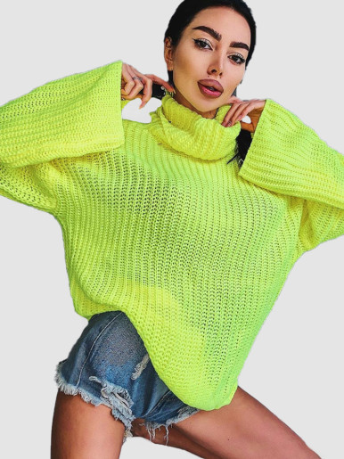 OneBling Backless Women Turtleneck Sweater 2019 Autumn Winter Knitted Long Sleeve Pullover Ladies Loose Casual Jumper