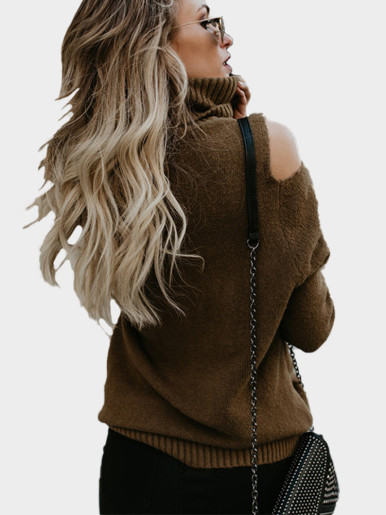 OneBling Fashion Casual Off Shoulder Sweaters Women Turtleneck Sweater Autumn Winter Ladies Long Sleeve Pullovers Slim Jumper